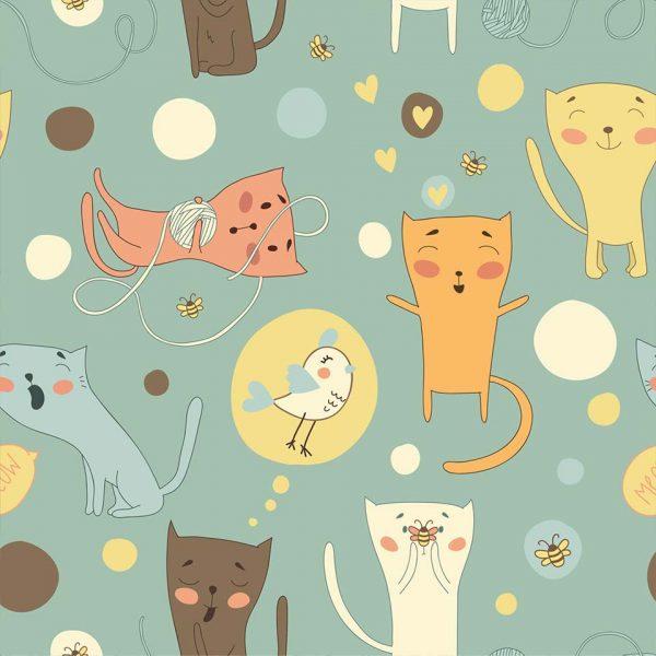 Cats pattern - tapeta dziecięca - artgroup.com.pl