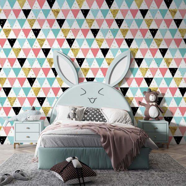 Mad pastel triangle - tapeta dziecięca - artgroup.com.pl