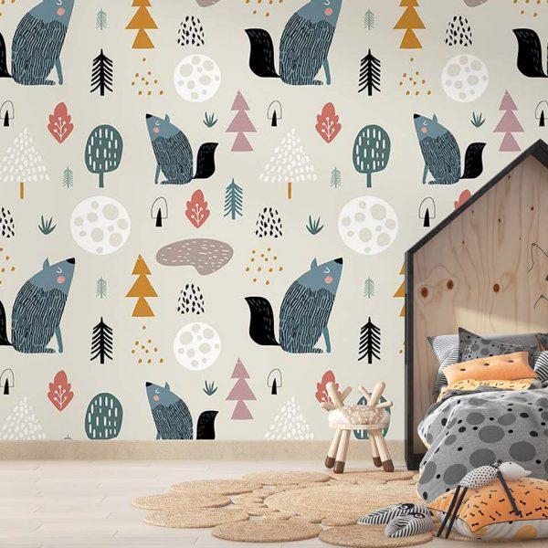 Moon wolf - tapeta dziecięca - artgroup.com.pl