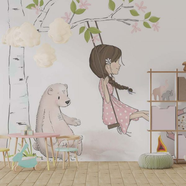 Tree swing - tapeta dziecięca - artgroup.com.pl