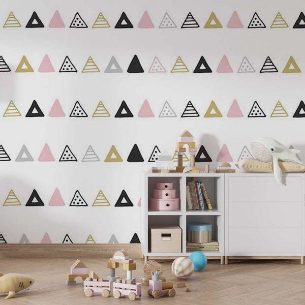 Triangle patchwork - tapeta dziecięca - artgroup.com.pl