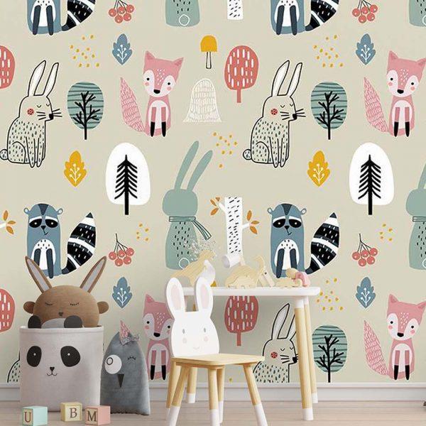 Woodland babies - tapeta dziedzięca - artgroup.com.pl