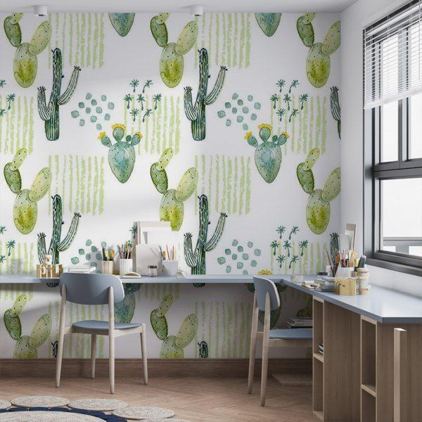 Cactus Patchwork - Tapeta designerska - artgroup.com.pl