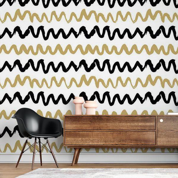 Golden Waves - Tapeta designerska - artgroup.com.pl